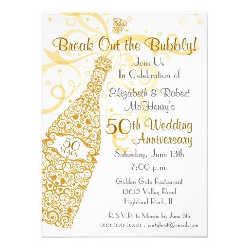 50 Golden Years Champagne Celebration Personalized Invite