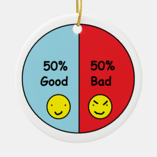 50% Good and 50% Bad Pie Chart Ceramic Ornament