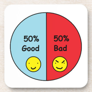 50% Good and 50% Bad Pie Chart Drink Coasters