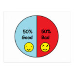 50% Good and 50% Bad Pie Chart Postcard