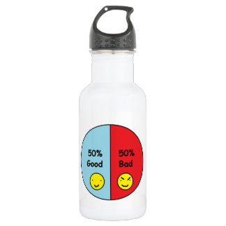 50% Good and 50% Bad Pie Chart Stainless Steel Water Bottle