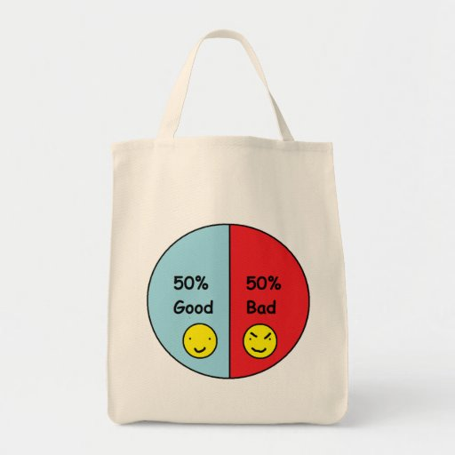 50% Good and 50% Bad Pie Chart Tote Bag