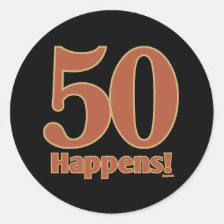 50 happens! - PINK Classic Round Sticker