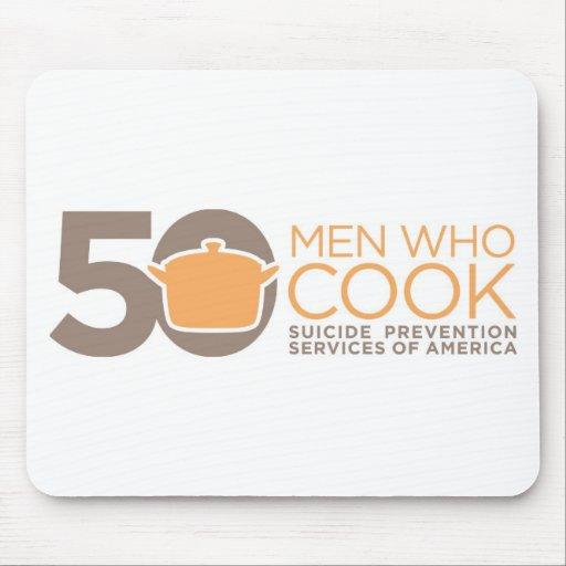 50 hombres que cocinan la ropa del logotipo alfombrillas de raton