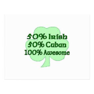 50% Irish 50% Cuban 100% Awesome Postcard