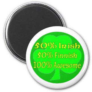 50% Irish 50% Finnish 100% Awesome 2 Inch Round Magnet
