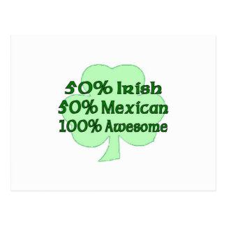 50% Irish 50% Mexican 100% Awesome Postcard