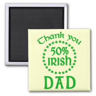 50% Irish - Thanks Dad 2 Inch Square Magnet