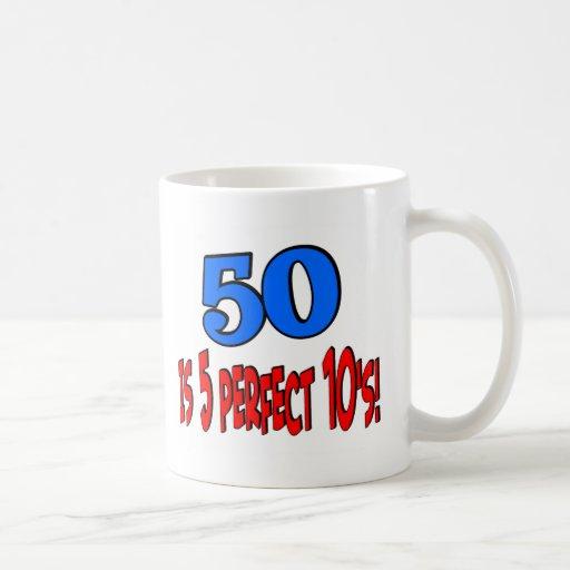 50 is 5 perfect 10s (BLUE) Classic White Coffee Mug