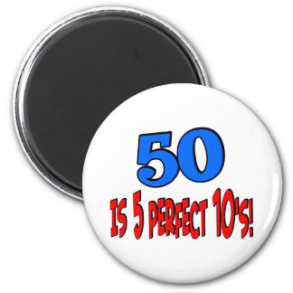 50 is 5 perfect 10s (BLUE) Fridge Magnets