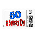 50 is 5 perfect 10s (BLUE) Postage Stamps