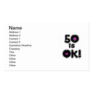 50 is OK Birthday Business Card Templates