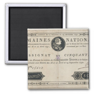 50 livres bank note, 29th October 1790 2 Inch Square Magnet