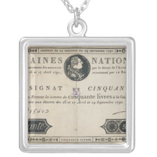 50 livres bank note, 29th October 1790 Silver Plated Necklace