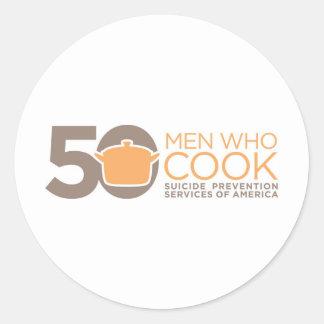 50 Men Who Cook Logo Apparel. Classic Round Sticker