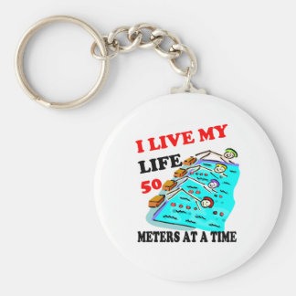 50 meters at a time keychain