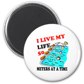 50 meters at a time fridge magnet
