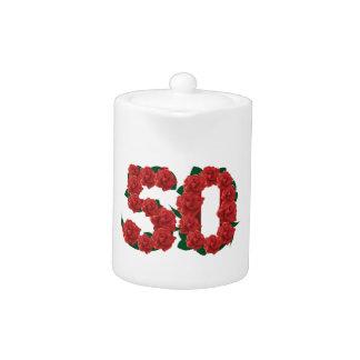 50 number 50th birthday wedding anniversary roses teapot