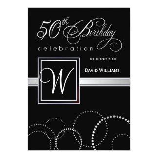 """50.o Adulto de la fiesta de cumpleaños - monograma Invitación 5"""" X 7"""""""