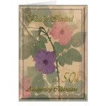 50.o aniversario color de rosa polvoriento antiguo tarjeta