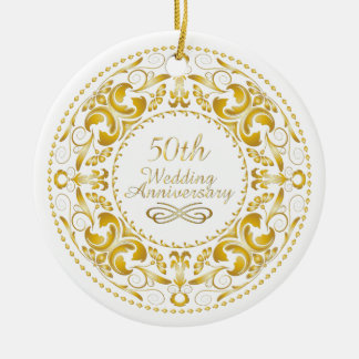 50.o Aniversario de boda 9 - ornamento Adorno Navideño Redondo De Cerámica