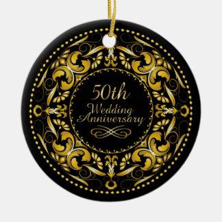 50.o Aniversario de boda 9B - ornamento Adorno Navideño Redondo De Cerámica