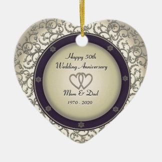 50.o Aniversario de boda Adorno Navideño De Cerámica En Forma De Corazón