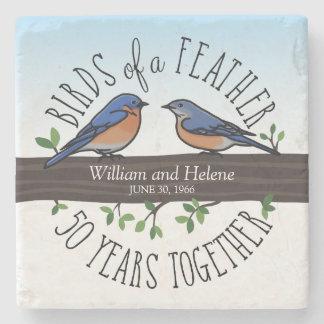 50.o Aniversario de boda, Bluebirds de una pluma Posavasos De Piedra