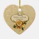 50.o aniversario de boda color de rosa de oro ornamento para arbol de navidad