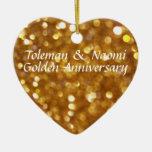 50.o aniversario de boda de oro brillante moderno ornaments para arbol de navidad