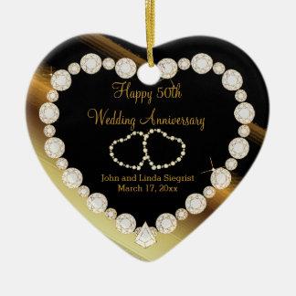 50.o Aniversario de boda de oro de la foto Adorno Navideño De Cerámica En Forma De Corazón