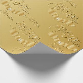 50.o aniversario de boda de oro elegante papel de regalo