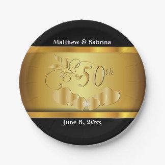 50.o aniversario de boda de oro elegante plato de papel de 7 pulgadas