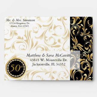 50.o aniversario de boda de oro elegante sobres