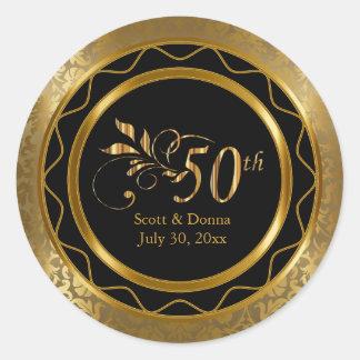 50.o aniversario de boda de oro hermoso pegatina redonda
