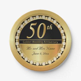 50.o aniversario de boda de oro hermoso plato de papel de 7 pulgadas
