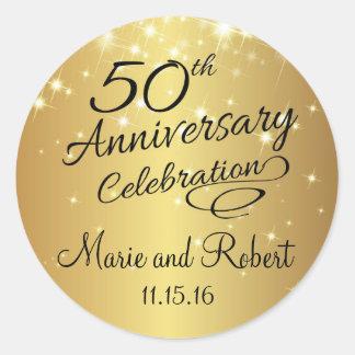 50.o aniversario de boda de oro pegatina redonda