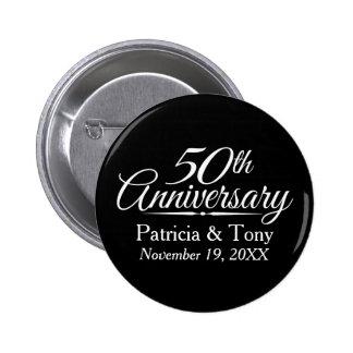 50.o Aniversario de boda de oro personalizado Pin Redondo De 2 Pulgadas