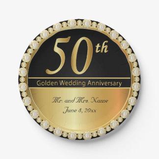 50.o Aniversario de boda de oro Plato De Papel De 7 Pulgadas