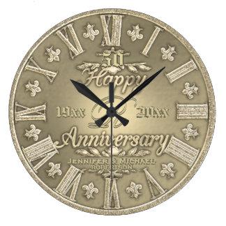 50.o Aniversario de boda de oro Reloj Redondo Grande