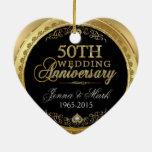 50.o Aniversario de boda del oro Adorno Navideño De Cerámica En Forma De Corazón