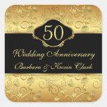 50.o aniversario de boda floral de oro calcomanías cuadradass personalizadas