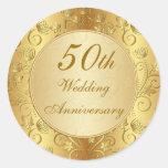 50.o aniversario de boda floral de oro pegatinas redondas