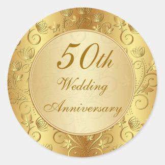 50.o aniversario de boda floral de oro pegatina redonda