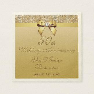 50.o aniversario de boda personalizado del oro servilleta de papel