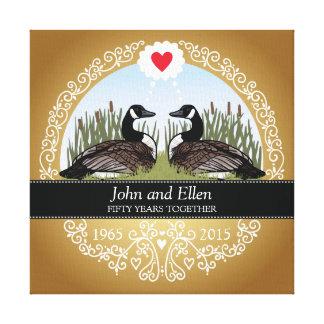 50.o aniversario de boda personalizado, gansos impresión en lienzo