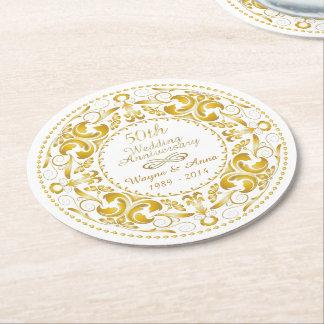 50.o Aniversario de boda - práctico de costa de Posavasos Personalizable Redondo