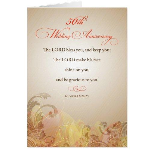 50.o Aniversario de boda, señor religioso Bless y  Tarjeta