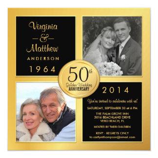 """50.o Aniversario de oro con las fotos últimas y Invitación 5.25"""" X 5.25"""""""