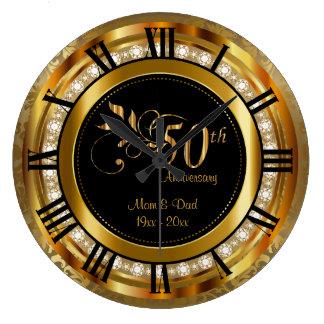 50.o aniversario de oro elegante del diamante reloj redondo grande
